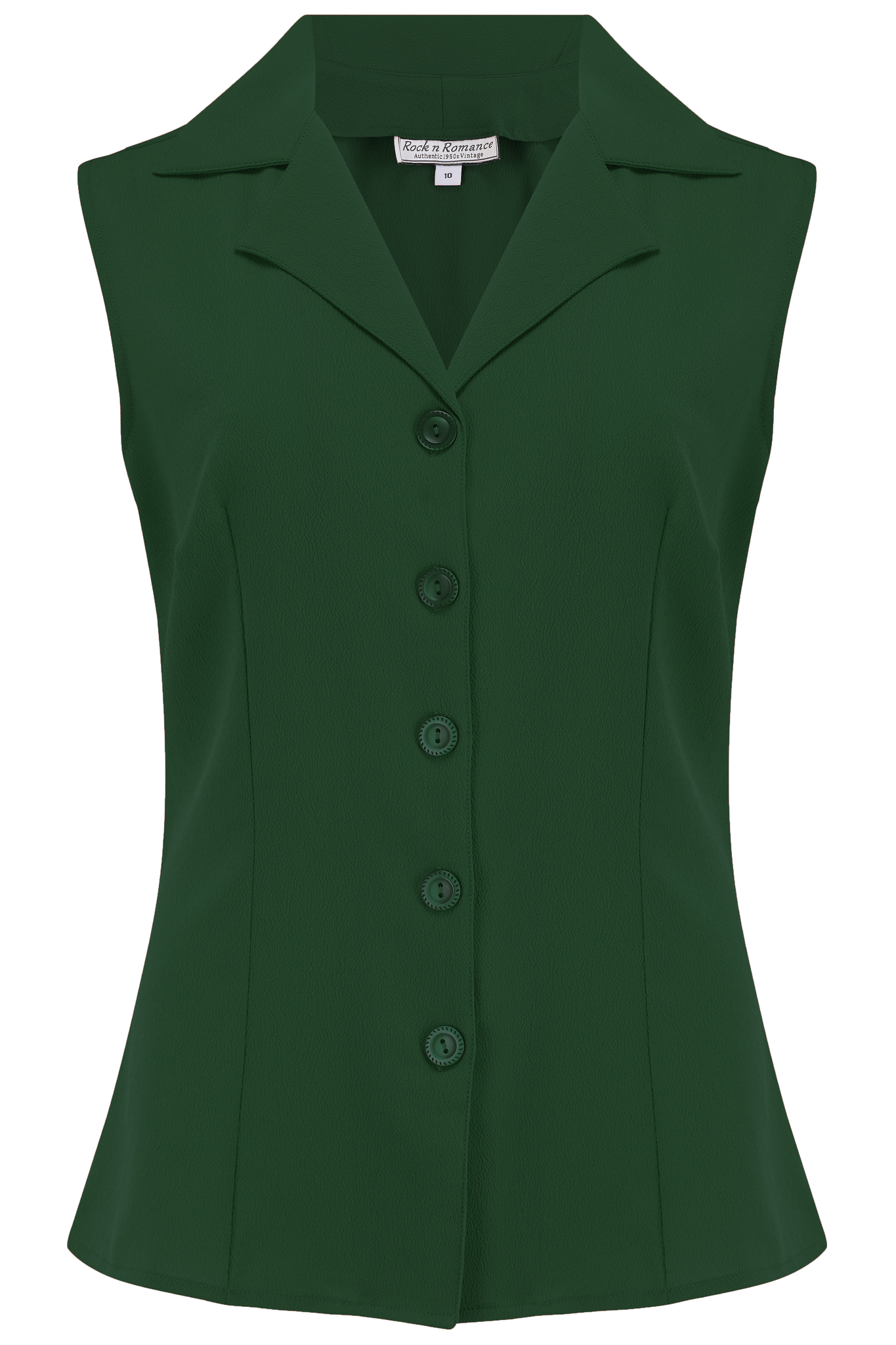"Rock n Romance **Sample Sale** The ""Gladys"" Sleeveless Summer Blouse in Solid Green, Classic Vintage 1950s Inspired Style - RocknRomance Clothing"