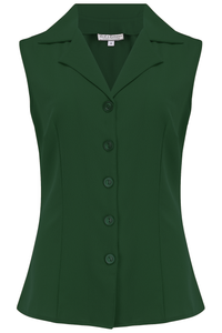 "**Sample Sale** The ""Gladys"" Sleeveless Summer Blouse in Solid Green, Classic Vintage 1950s Inspired Style - RocknRomance True 1940s & 1950s Vintage Style"
