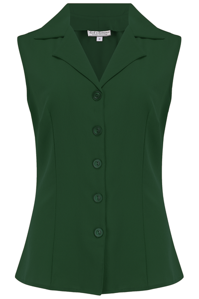 "Rock n Romance The ""Gladys"" Sleeveless Summer Blouse in Solid Green, Classic Vintage 1950s Inspired Style - RocknRomance Clothing"