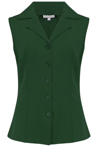 "Rock n Romance Pre-Launch.. ""Gladys"" Sleeveless Summer Blouse in Solid Green, Classic Vintage 1950s Inspired Style - RocknRomance Clothing"