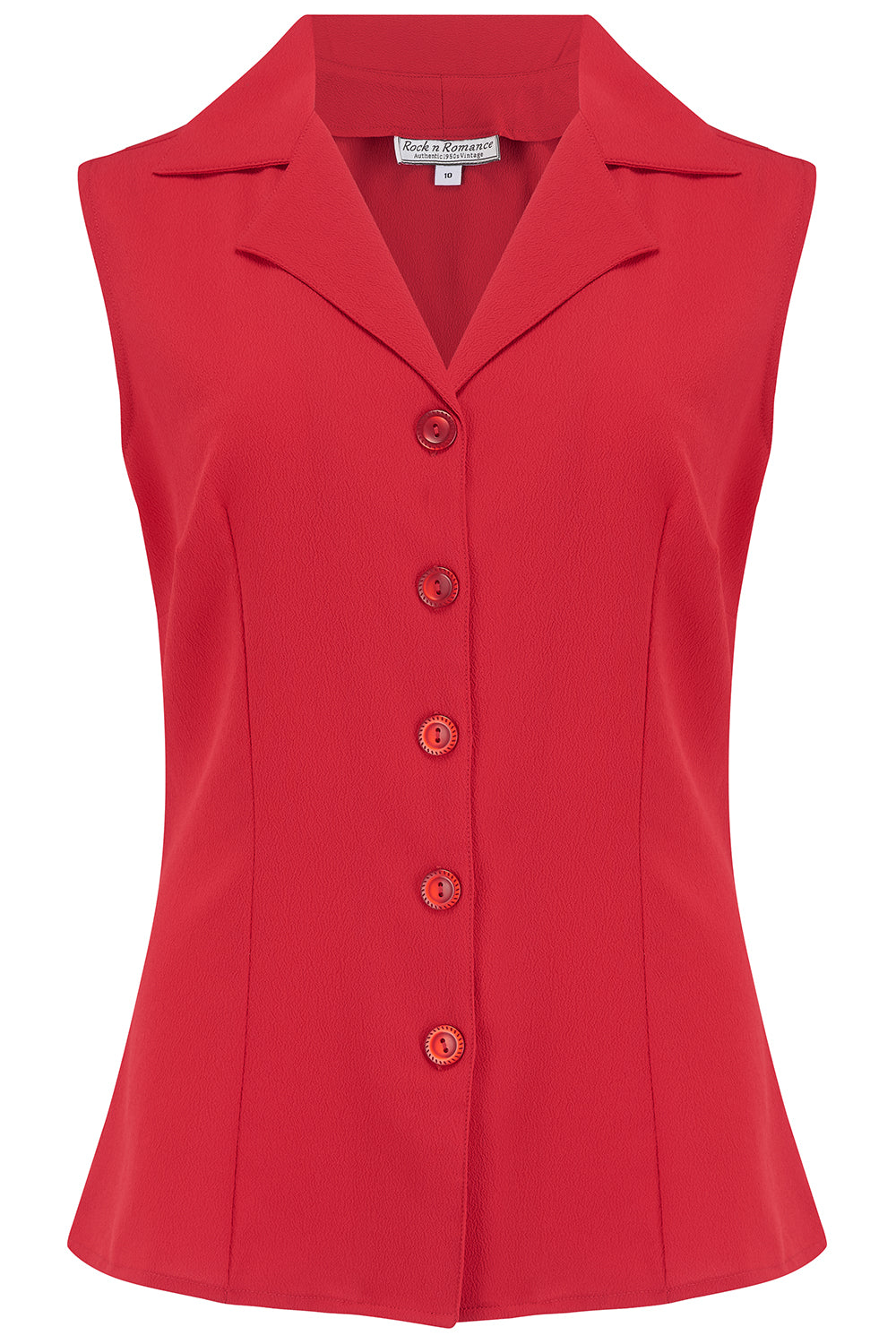 "Rock n Romance The ""Gladys"" Sleeveless Summer Blouse in Solid Red, Classic Vintage 1950s Inspired Style - RocknRomance Clothing"