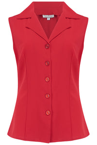 "Rock n Romance ""Gladys"" Sleeveless Summer Blouse in Solid Red, Classic Vintage 1950s Inspired Style - RocknRomance Clothing"