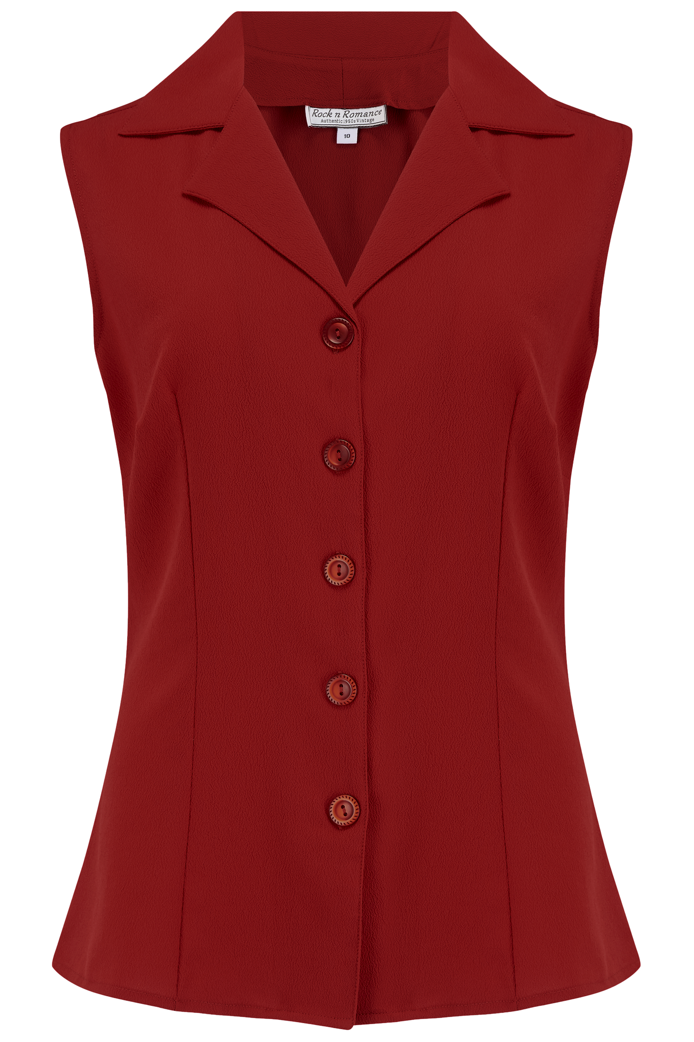 "Rock n Romance ""Gladys"" Sleeveless Summer Blouse in Solid Wine, Classic Vintage 1950s Inspired Style - RocknRomance Clothing"