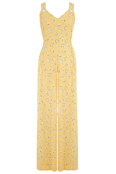 "Rock n Romance The ""Lana"" Jump Suit in Yellow Abstract Heart Print, True Authentic 1950s Vintage Style - RocknRomance Clothing"