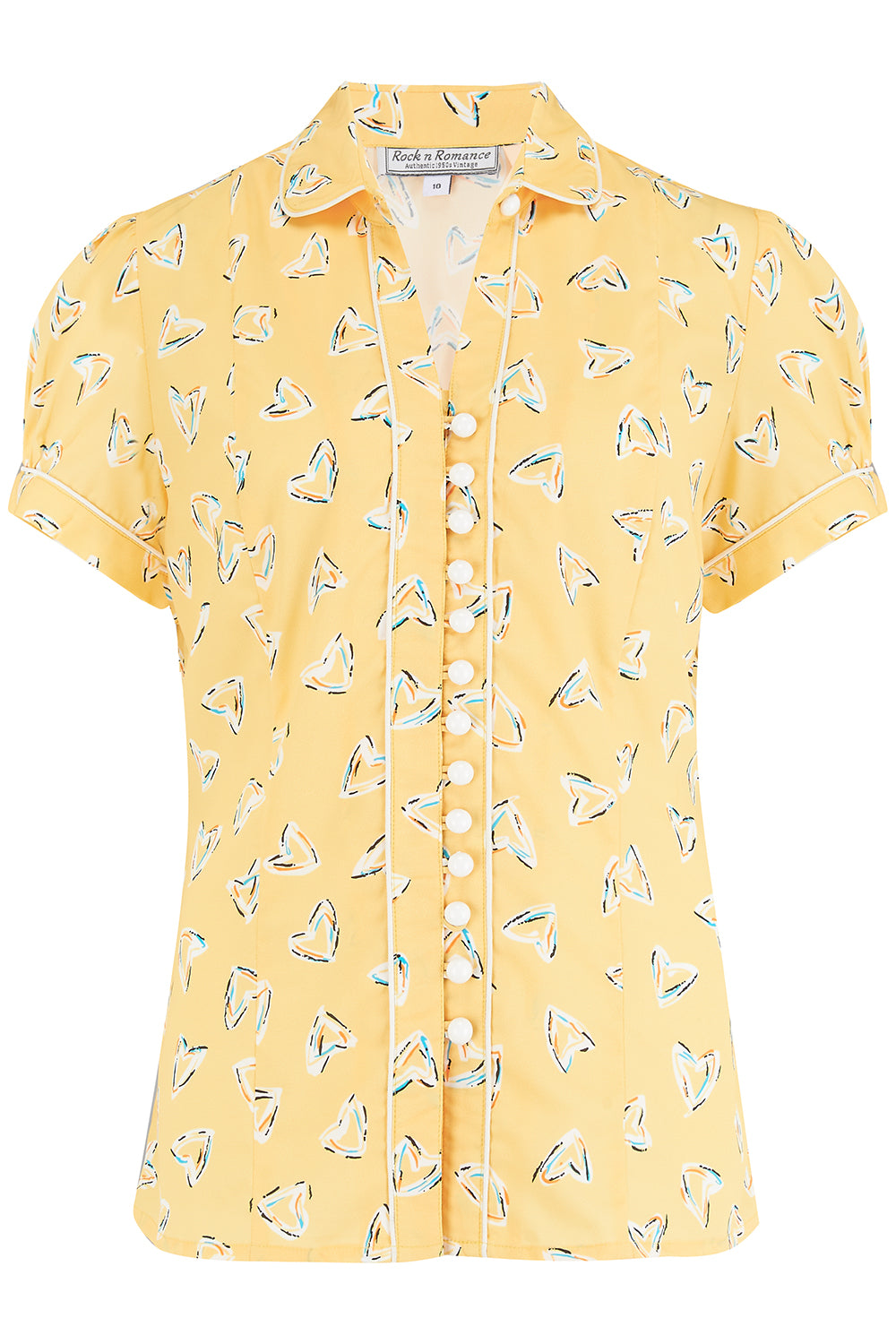 "Rock n Romance **Sample Sale** ""Margot"" Blouse in Yellow Abstract Heart Print, Perfect 1950s Style - RocknRomance Clothing"