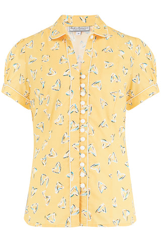 "Rock n Romance ""Margot"" Blouse in Yellow Abstract Heart Print, Perfect 1950s Style - RocknRomance Clothing"