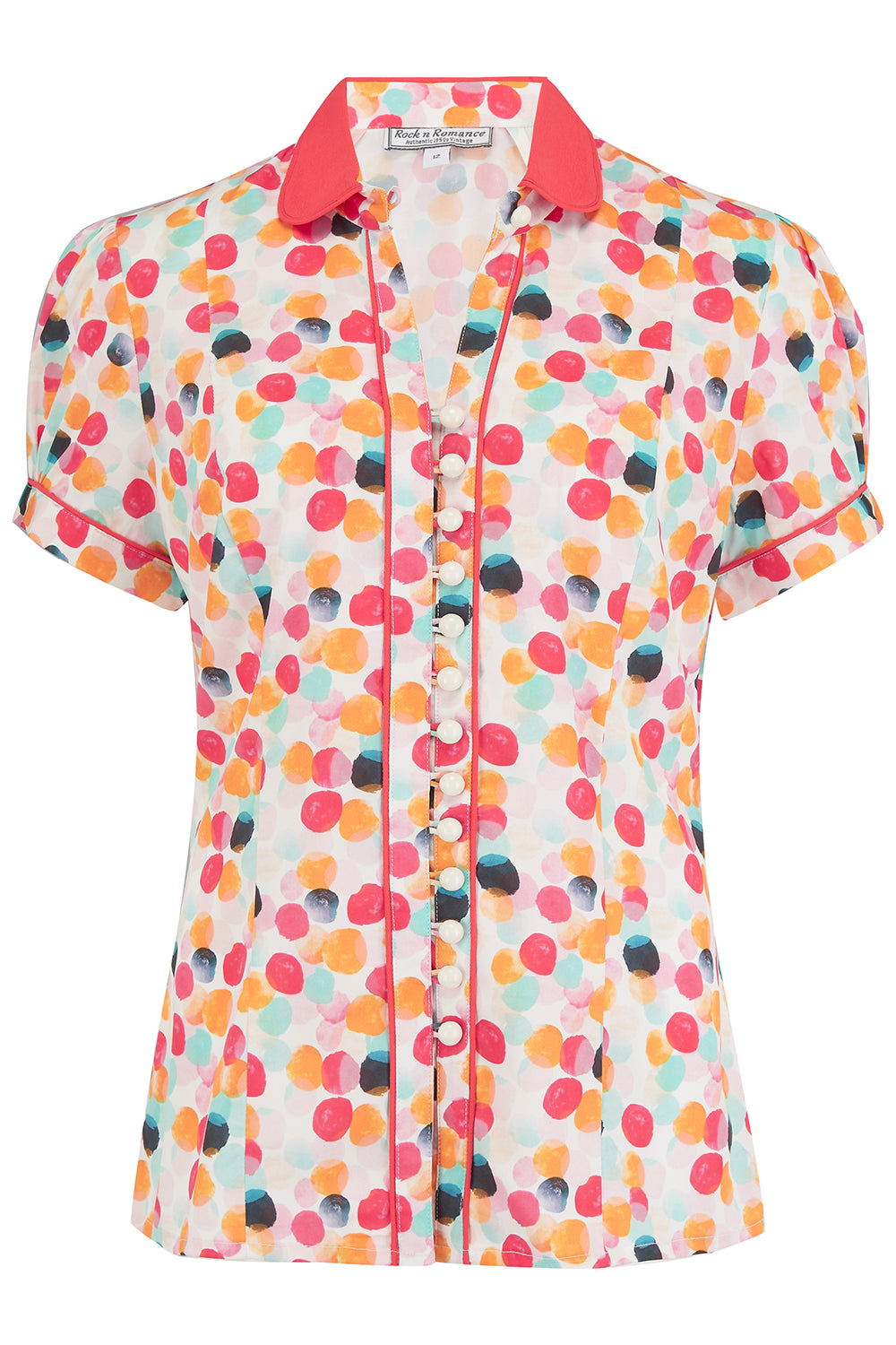 "The ""Margot"" Blouse in Bubblegum Print, Perfect 1950s Style - RocknRomance True 1940s & 1950s Vintage Style"