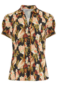 "Rock n Romance ""Margot"" Blouse in Japanese Fan Print, Perfect 1950s Style - RocknRomance Clothing"