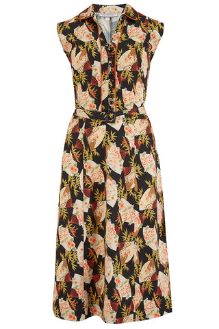 "Rock n Romance Pre-Launch.. ""Margot"" Dress in Japanese Fan Print, Perfect 1950s Style - RocknRomance Clothing"