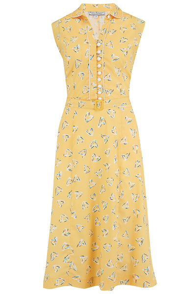 "Rock n Romance **Sample Sale** The ""Margot"" Dress in Yellow Abstract Heart Print, True & Classic Easy To Wear Vintage Style - RocknRomance Clothing"