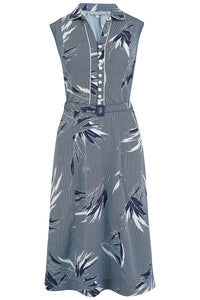 "Rock n Romance Pre-Launch.. ""Margot"" Dress in Blue Abstract Maple Print, Perfect 1950s Style - RocknRomance Clothing"