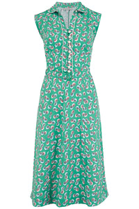 "Rock n Romance Pre-Launch.. ""Margot"" Dress in Green Abstract Polka Print, Perfect 1950s Style - RocknRomance Clothing"