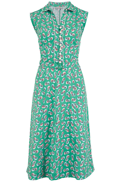 "Rock n Romance ""Margot"" Dress in Green Abstract Polka Print, Perfect 1950s Style - RocknRomance Clothing"