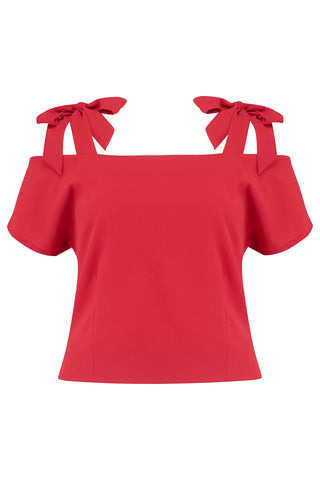 "Rock n Romance ""Sandy"" Cold Shoulder Blouse in Solid Red, Classic Vintage 1950s Inspired Style - RocknRomance Clothing"
