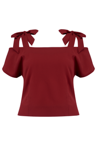 "Rock n Romance ""Sandy"" Cold Shoulder Blouse in Solid Wine, Classic Vintage 1950s Inspired Style - RocknRomance Clothing"