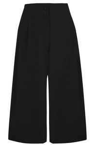 "Rock n Romance The ""Sophia"" Plazo Culottes in Solid Black, Classic & Easy To Wear Vintage Inspired Style - RocknRomance Clothing"