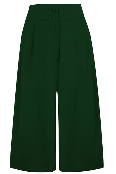 "Rock n Romance The ""Sophia"" Plazo Culottes in Solid Green, Classic & Easy To Wear Vintage Inspired Style - RocknRomance Clothing"