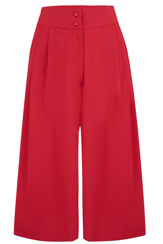 "Rock n Romance The ""Sophia"" Plazo Culottes in Solid Red, Classic & Easy To Wear Vintage Inspired Style - RocknRomance Clothing"