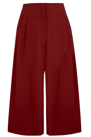 "Rock n Romance ""Sophia"" Culottes in Solid Wine, Authentic 1950s Vintage Style - RocknRomance Clothing"
