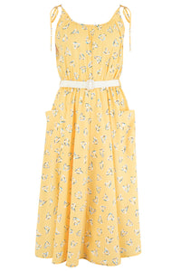"Rock n Romance Pre-Launch.. ""Suzy Sun Dress"" in Yellow Abstract Heart Print, 1950s Vintage Style - RocknRomance Clothing"