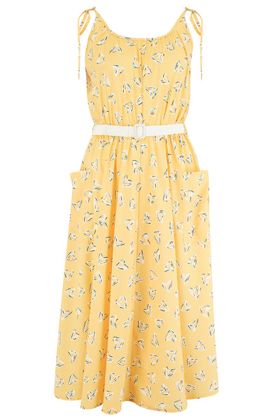 "The ""Suzy Sun Dress"" in Yellow Abstract Heart Print, Easy To Wear Style From The 50s - RocknRomance True 1940s & 1950s Vintage Style"