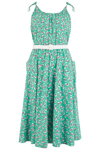 "Rock n Romance Pre-Launch.. ""Suzy Sun Dress"" in Green Abstract Polka Print, 1950s Vintage Style - RocknRomance Clothing"