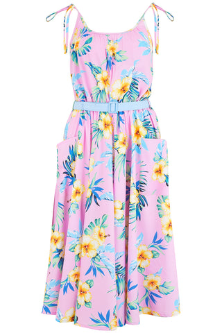 "Rock n Romance Pre-Launch.. ""Suzy Sun Dress"" in Pink Hawaiian, 1950s Vintage Style - RocknRomance Clothing"