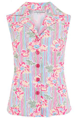 "**Sample Sale** The ""Gladys"" Sleeveless Summer Blouse in Pacific Garden Print, Classic Vintage 1950s Inspired Style - RocknRomance True 1940s & 1950s Vintage Style"