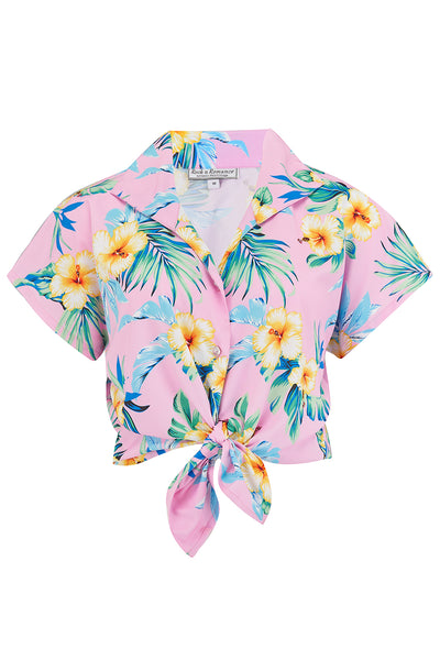 "Rock n Romance Tuck in or Tie Up ""Maria"" Blouse in Pink Hawaiian Print, 1950s Tiki Inspired Style - RocknRomance Clothing"