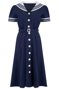 Late 40's Sailor Dress in Navy Blue with Contrast Collar & Cuffs, Classic Vintage Style