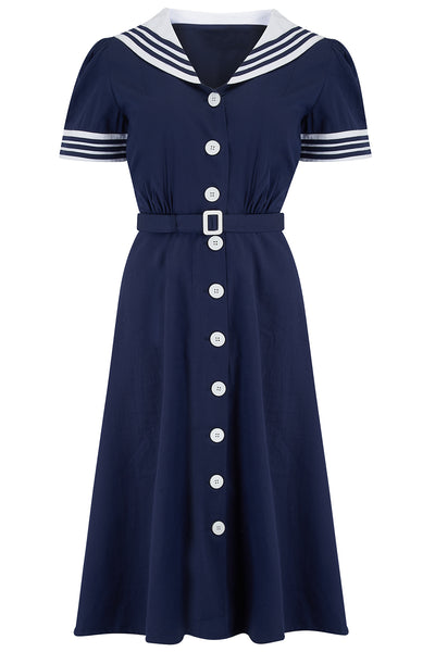Rock n Romance **Sample Sale** Late 40's Sailor Dress in Navy Blue with Contrast Collar & Cuffs, Classic Vintage Style - RocknRomance Clothing