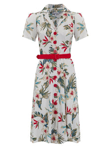 "Rock n Romance Wholesale Item.. ""Charlene"" Shirtwaister Dress in Natural Hawaiian Print (RRP £49) - RocknRomance Clothing"
