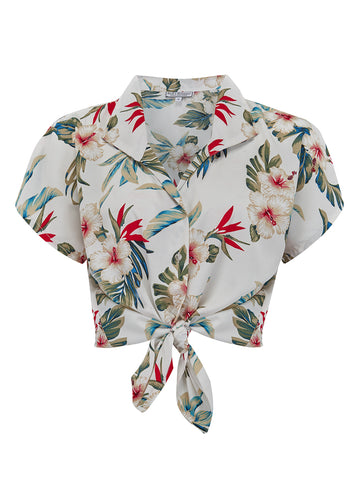 "Tuck in or Tie Up ""Maria"" Blouse in Hawaiian Print, Vintage 1950s Tiki Inspired Style"