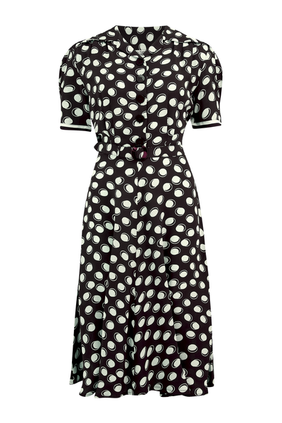 """Roma"" Dress in Black Moonshine Polka, Authentic & Classic 1940's Vintage Inspired Style - RocknRomance True 1940s & 1950s Vintage Style"