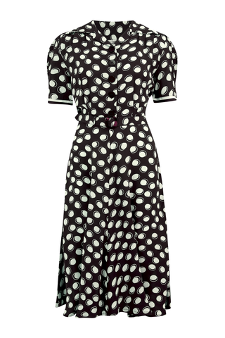 """Roma"" Dress in Black Moonshine Polka, Authentic & Classic 1940's Vintage Inspired Style"