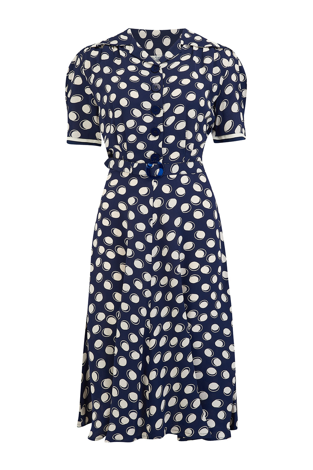 1940s Dress Styles Roma Dress in Navy Moonshine Polka Authentic  Classic 1940s Vintage Inspired Style £79.00 AT vintagedancer.com
