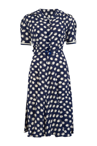 "The Seamstress Of Bloomsbury ""Roma"" Dress in Navy Moonshine Polka, Authentic & Classic 1940's Vintage Inspired Style - RocknRomance Clothing"