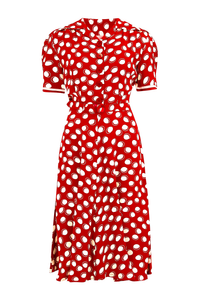 "The Seamstress Of Bloomsbury ""Roma"" Dress in Red Moonshine Polka, Authentic & Classic 1940's Vintage Inspired Style - RocknRomance Clothing"