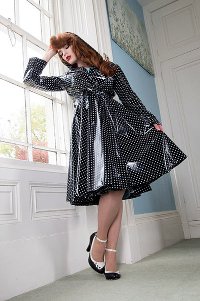 "Elements Rain Wear **UK Hand Made To Order** Classic 1940s Style ""Full Skirted Rain Mac"" in Black With Polka - RocknRomance Clothing"
