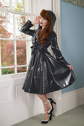 "Elements Rain Wear **UK Hand Made To Order** Classic 1940s Style ""Romantica Full Skirted Rain Mac"" in Black With Polka - RocknRomance Clothing"