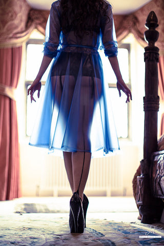 "Elements Rain Wear **UK Hand Made To Order** Classic 1940s Style ""Romantica Full Skirted Rain Mac"" Blue Semi-Trans - RocknRomance Clothing"