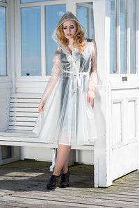 "**UK Hand Made To Order** Classic 1940s Style ""Romantica Full Skirted Rain Mac"" Natural Semi-Trans - RocknRomance True 1940s & 1950s Vintage Style"