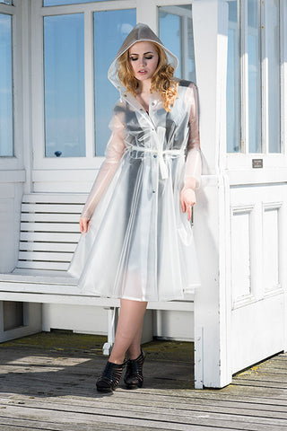 "Elements Rain Wear **UK Hand Made To Order** Classic 1940s Style ""Romantica Full Skirted Rain Mac"" Natural Semi-Trans - RocknRomance Clothing"