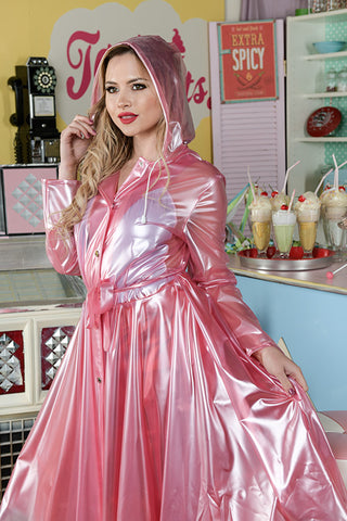 "Elements Rain Wear **UK Hand Made To Order** Classic 1940s Style ""Romantica Full Skirted Rain Mac"" in Pink Pearl - RocknRomance Clothing"