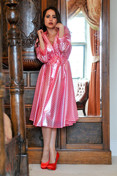 "Elements Rain Wear **UK Hand Made To Order** Classic 1940s Style ""Romantica Full Skirted Rain Mac"" in Pink with Polka - RocknRomance Clothing"