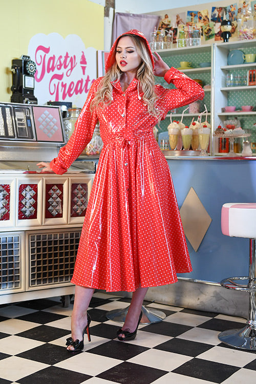 "**UK Hand Made To Order** Classic 1940s Style ""Romantica Full Skirted Rain Mac"" in Red With Polka - RocknRomance True 1940s & 1950s Vintage Style"