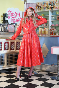 "Elements Rain Wear **UK Hand Made To Order** Classic 1940s Style ""Full Skirted Rain Mac"" in Red With Polka - RocknRomance Clothing"