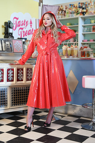 "Elements Rain Wear **UK Hand Made To Order** Classic 1940s Style ""Romantica Full Skirted Rain Mac"" in Red With Polka - RocknRomance Clothing"