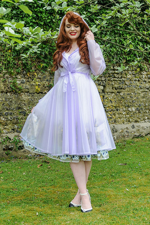 "**UK Hand Made To Order** Classic 1940s Style ""Full Skirted Rain Mac "" Violet Semi-Trans"