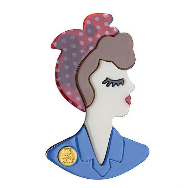 The Seamstress Of Bloomsbury Rosie The Riveter Acrylic Pin Brooch, Vintage, Rockabilly & Oh So Kitsch - RocknRomance Clothing